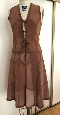 1970s Vintage Suede Vest And Skirt / hippy / groovy  Sz Ex Small  / 0 - 2