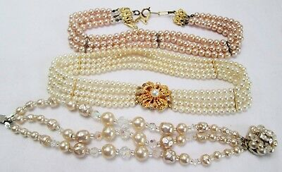 Attractive vintage gold metal & 4 row pearl choker necklace + bracelet + 1