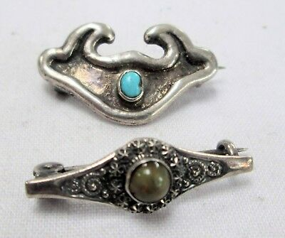 Two good vintage sterling silver brooches (turquoise, agate)