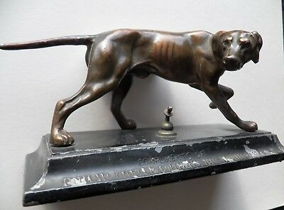 Vintage English Pointer Dog Bronze Finish Cast White Metal Base Irvington N.J.