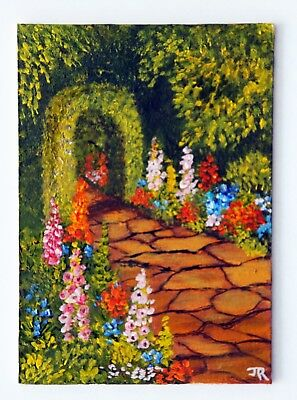 "ACEO: Original Painting: ""Through The Garden Arch"" by Judith Rowe"