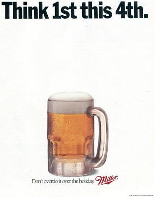1991 Miller Beer Print Ad Think 1St This 4Th Don't Overdo It This Holiday Bar Ad