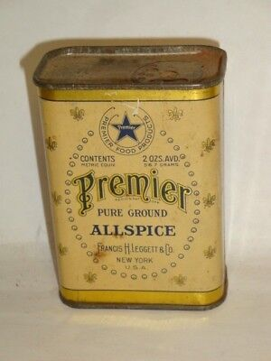 Nice Old Litho General Store Premier Brand Allspice Advertising Spice Tin Can