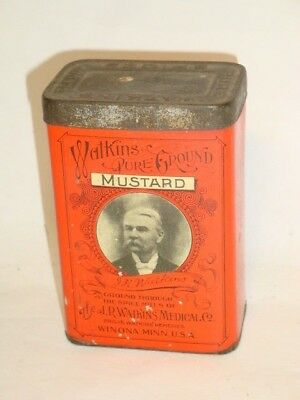 Nice Old Litho General Store Watkins Brand Mustard Advertising Spice Tin Can