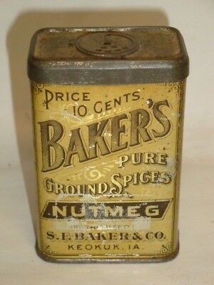 Nice Old Litho General Store Baker's Brand Nutmeg Advertising Spice Tin Can