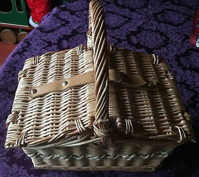 Small Wicker  Double Sided Picnic Basket