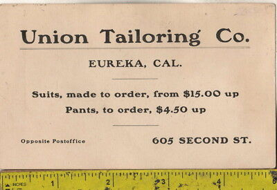 c1880s Victorian Trade Card Union Tailoring Co. 605 Second St. Eureka, Cal.