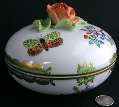 Herend Hungary Hand-Painted Porcelain QUEEN VICTORIA Bonbon Box Rose 7605 AS-IS