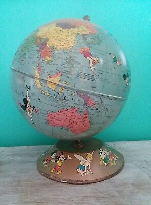 Vintage 1950's Walt Disney Rand McNally World Globe Atlas Metal Tin Lithograph