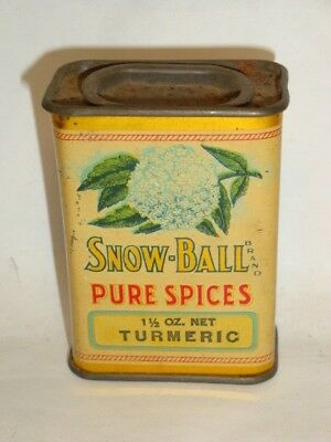 Nice Old Litho General Store Snow Ball Brand Turmeric Advertising Spice Tin Can