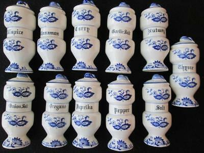 Set 11 Blue Onion Made in Japan Spice Jars