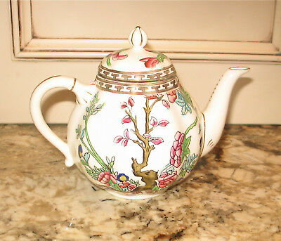 Lovely Vintage Coalport China Indian Tree Multicolor Scalloped Teapot Small