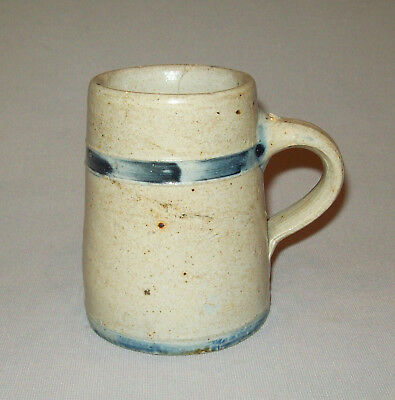 "Antique vtg 19th C 1870s Small Blue Band Decorated Stoneware Mug 4"" Tall Pottery"