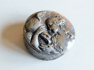 Vintage Art Deco Style Pewter Pin Box Lady & Eagle By Royal Britannia