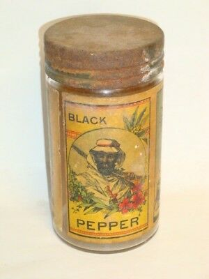 Nice Old Paper Label General Store Black Pepper Advertising Spice Jar Not Tin