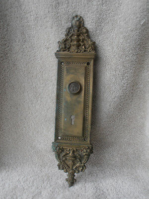 Antique Victorian Ornate Door Knob Plate Solid Brass Late 1800's