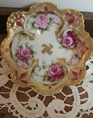 Antique Nippon Hand Painted Rose Dish, Gold Beaded, Moriage, Maple Leaf Mark