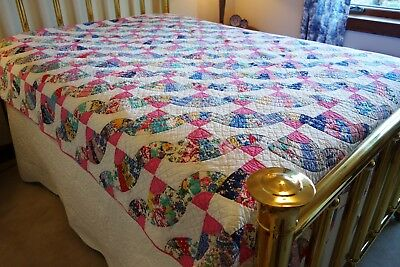 DOUBLE FAN 1930s ANTIQUE VTG 1000+HAND PIECED QUILTED w/HISTORY fm JANN'S QUILTs