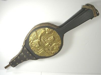 Fireplace Bellows Repousse Brass Leather Wood Antique / Vintage