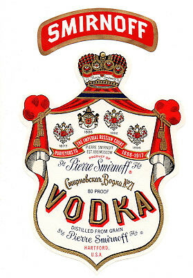 1930s STE PIERRE SMIRNOFF DISTILLERY, HARTFORD, CONNECTICUT #21 VODKA LABEL SET