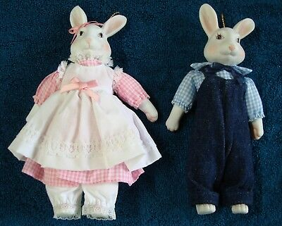 Lot Of 2 Bunny Dolls With Ceramic Heads And Paws