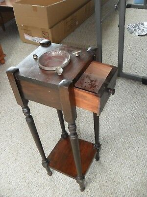 Antique One Drawer Smoking Stand Ashtray / Plant Stand / Accent Table