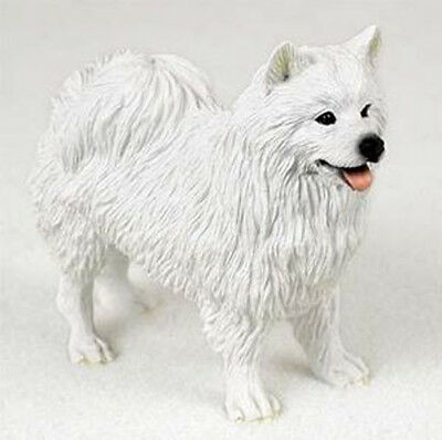AMERICAN ESKIMO DOG Figurine Statue Hand Painted Resin