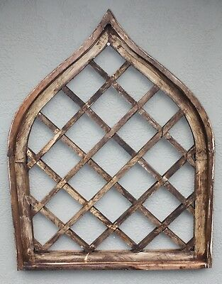 """Wooden Antique Style Church WINDOW Frame Primitive Wood Gothic 36""""  Tall Shabby"""