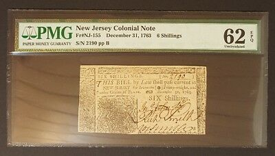 (UNCIRCULATED) 1763 New Jersey Colonial Note, PMG 62EPQ