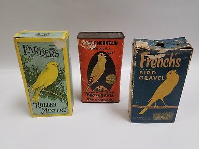 Lot of Vintage Bird Seed & Supplies Farber's French's & Hartz