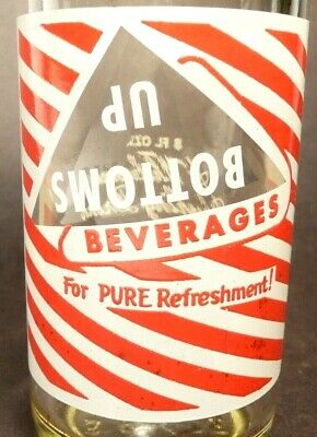 vintage ACL Soda Pop Bottle: white & red BOTTOMS UP of BULTER, PA - 8 oz ACL