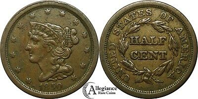 1850 1/2c Braided Hair Half Cent KEY DATE problem-free rare old type coin VF+ XF