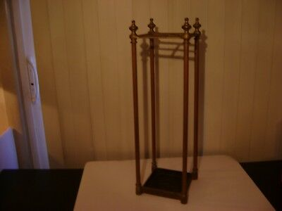 Vintage Brass & Cast Iron Cane / Umbrella Stand Rack