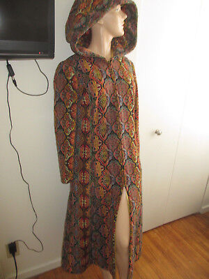 Vintage 40's STUNNING Tapestry Hooded Couture Dress Opera Coat WOW!!!