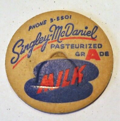"Vintage Milk Cream Bottle Cap 1-5/8"" S Singley McDaniel Dairy"