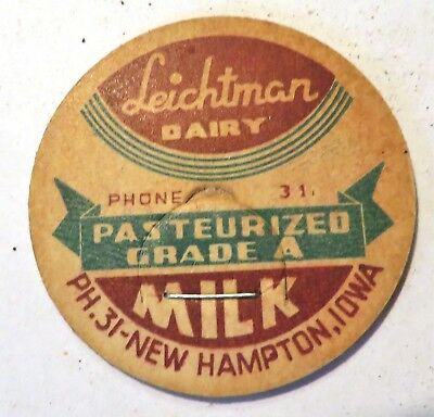"Vintage Milk Cream Bottle Cap 1-5/8"" Leichman Dairy New Hampton Iowa"