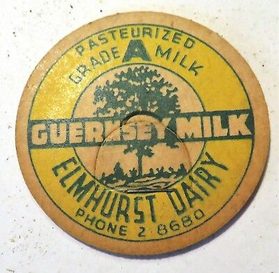 "Vintage Milk Cream Bottle Cap 1-5/8"" Elmhurst Dairy"