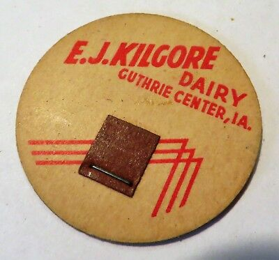 "Vintage Milk Cream Bottle Cap 1-5/8"" E.J. Kilgore Guthrie Center Iowa"