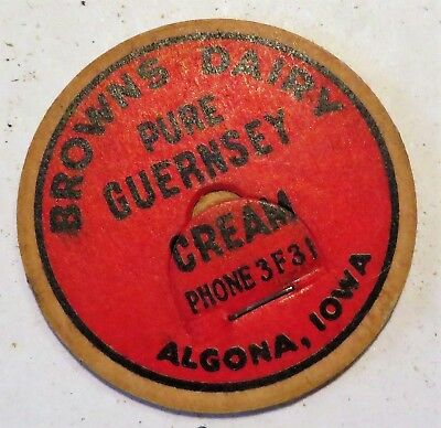 "Vintage Milk Cream Bottle Cap 1-5/8"" Browns Dairy Algona Iowa"