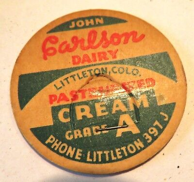 "Vintage Milk Bottle Cap 1-5/8"" John Carlson Dairy Littleton Colorado"