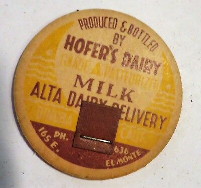 "Vintage Hoffers Dairy Milk  Bottle Cap 1-5/8"" Alta Delivery 636 Elmonte"