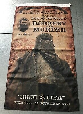 NED KELLY Outlaw Banner Flag Wall Aust Made Thick Quality Man Cave Bush Ranger