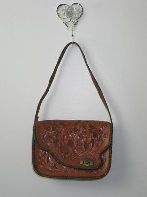Antique Vintage Tooled Leather Purse Handbag 1940s 1950s  Art Nouveau Art Deco
