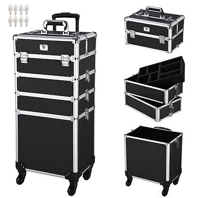 AW® 2in1 Rolling Aluminum Makeup Artist Cosmetic Train Case Box
