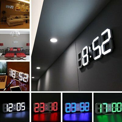 Modern Digital 3D White LED Wall Clock Alarm Clock Snooze 12/24 Hour Display FE