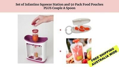 Infantino Fresh Squeezed Squeeze Station with 50 Pack Food Pouches and Spoons