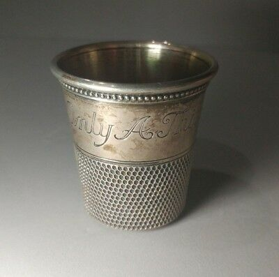 """Neat antique Sterling Silver """"Only A Thimble Full"""" shot glass/jigger!"""