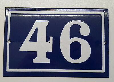 ANTIQUE FRENCH ENAMEL HOUSE NUMBER SIGN Door gate plaque street plate 46