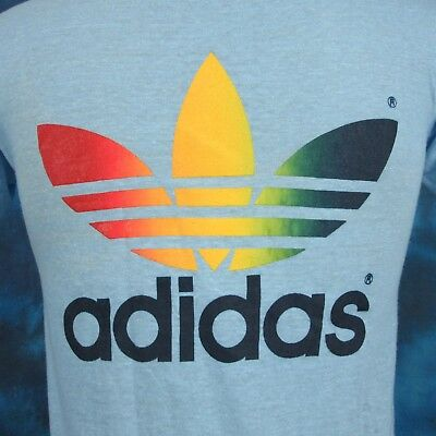 vintage 1984 ADIDAS RAINBOW TREFOIL IAFF CROSS COUNTRY RACE T-Shirt XS thin 80s