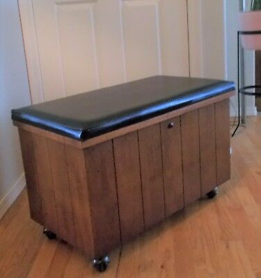 Vintage Lane Record Cabinet Chest on Castors with black Vinyl Upholstery